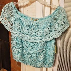 Off shoulder lace blouse shirt